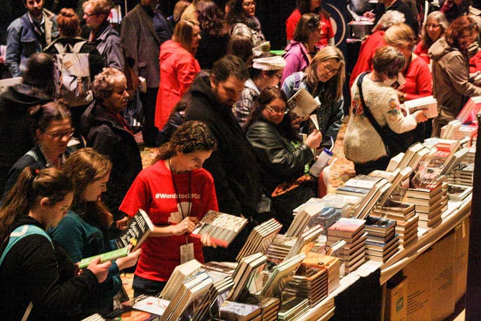 Book Fair at Wordstock 2015, readers browsing tables of books